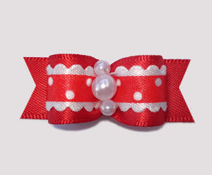 "#2372 - 5/8"" Dog Bow - Country Cottage Ruffle, Red"