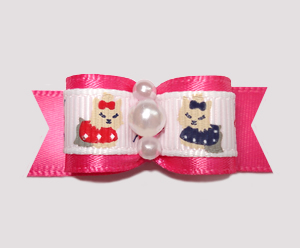 "#2373 - 5/8"" Dog Bow - Darling Yorkies on Hot Pink Satin, Pearls"