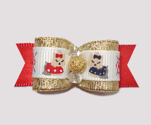 "#2374 - 5/8"" Dog Bow - Darling Little Yorkies, Gold on Red Satin"