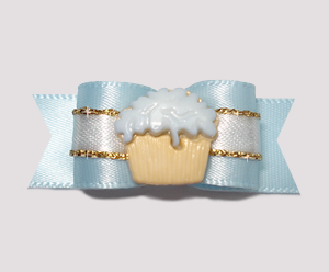 "#2375 - 5/8"" Dog Bow - Gorgeous Soft Blue & Gold, Cupcake"