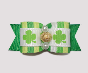 "#2377 - 5/8"" Dog Bow - Shamrocks Delight, Gold Stardust"