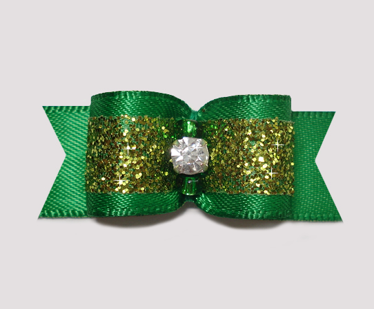 "#2379 - 5/8"" Dog Bow - Gorgeous Green Sparkle with Rhinestone"