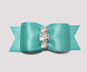 "#2383 - 5/8"" Dog Bow - Satin, Sky Blue, Triple Rhinestones"