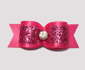 "#2389 - 5/8"" Dog Bow - Gorgeous Glitter, Hot Pink, Rhinestone"