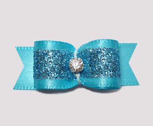 "#2390- 5/8"" Dog Bow- Gorgeous Glitter, Electric Blue, Rhinestone"