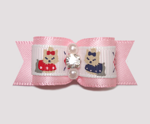 "#2395 - 5/8"" Dog Bow - Darling Yorkies on Baby Pink, Rhinestone"