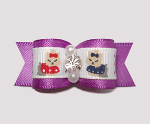 "#2397 - 5/8"" Dog Bow - Darling Yorkies, Orchid Satin, Rhinestone"