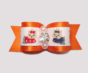 "#2402 - 5/8"" Dog Bow - Darling Yorkies, Orange Satin, Rhinestone"