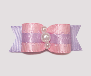 "#2411 - 5/8"" Dog Bow - My Sweet Little Baby, Pink/Lavender"
