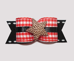 "#2416 - 5/8"" Dog Bow - Red/White Country Gingham, Gold Star"