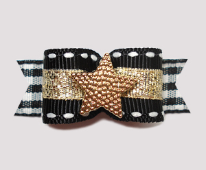 "#2419 - 5/8"" Dog Bow - Gold Star Ranch, Black/Gold"