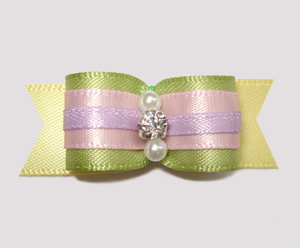 "#2423 - 5/8"" Dog Bow - Beautiful Pastel Satins, Rhinestone"