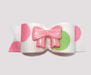 "#2424 - 5/8"" Dog Bow - Bubble Dots, Pink/Green, Pink Bow"
