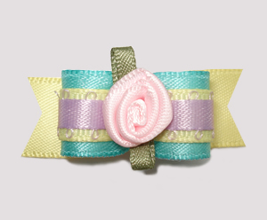 "#2425 - 5/8"" Dog Bow - Beautiful Pastel Satins, Pink Rosette"