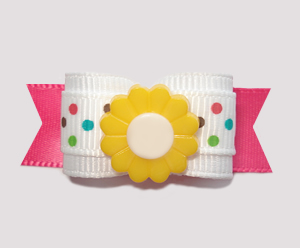 "#2426 - 5/8"" Dog Bow- Fun MultiColor Dots on Pink, Yellow Flower"