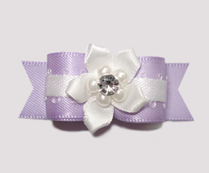 "#2428 - 5/8"" Dog Bow - Sweet Lavender & White, Gem Florette"