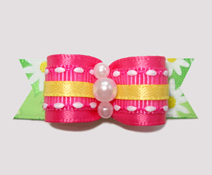 "#2430 - 5/8"" Dog Bow - Summer Brights, Hot Pink/Yellow/Daisies"