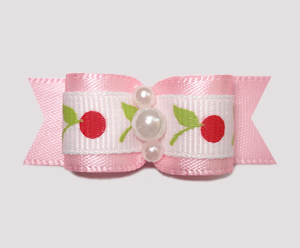 "#2432 - 5/8"" Dog Bow - Pink on Pink, Sweet Cherries"