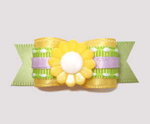 "#2434 - 5/8"" Dog Bow - Pretty Spring Flower, Yellow/Green"