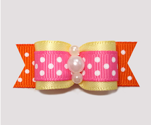 "#2435 - 5/8"" Dog Bow - Summer Sizzle Dots! Yellow w/Pink/Orange"
