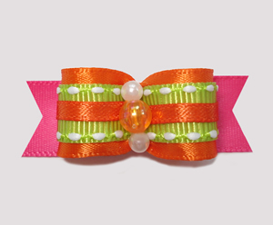 "#2436 - 5/8"" Dog Bow - Summer Brights, Orange/Green/Pink"