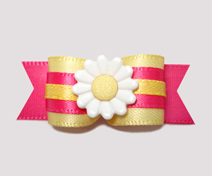 "#2437 - 5/8"" Dog Bow - Adorable Flower, Yellow/Hot Pink"
