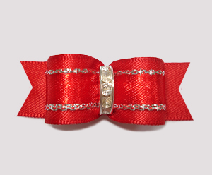 "#2445 - 5/8"" Dog Bow - Classic Red Satin with Sparkle, Stones"
