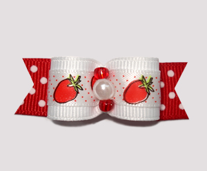 "#2450 - 5/8"" Dog Bow - Sweet Strawberry Sensation, Red Dots"