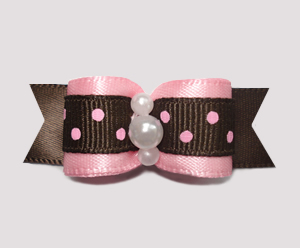 "#2453 - 5/8"" Dog Bow - Sweet Chocolate and Strawberry Dots"