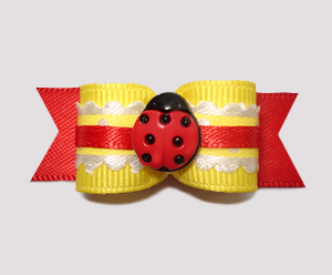 "#2455 - 5/8"" Dog Bow - Country Cottage Ladybug, Red/Yellow"