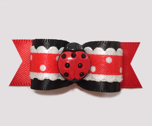 "#2460 - 5/8"" Dog Bow - Country Cottage Ladybug, Red/Black"