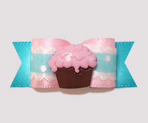 "#2462 - 5/8"" Dog Bow - Sweet Little Cupcake, Pink/Blue"