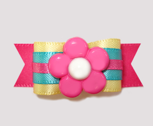 "#2463 - 5/8"" Dog Bow - Sweet Summer Brights, Pink Flower"