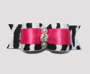 "#2469 - 5/8"" Dog Bow - Diva Zebra and Hot Pink, Rhinestone"
