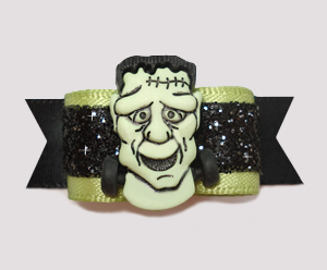 "#2470 - 5/8"" Dog Bow - Fabulous Frankenstein, Black Glitter"