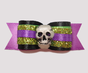 "#2475 - 5/8"" Dog Bow - Time To Be Dazzling, Skull"
