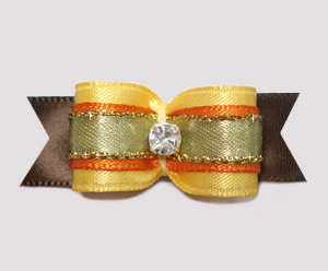 "#2478 - 5/8"" Dog Bow - Lovely Autumn Harvest, Rhinestone"