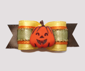 "#2479 - 5/8"" Dog Bow - Lovely Autumn Harvest, Pumpkin"