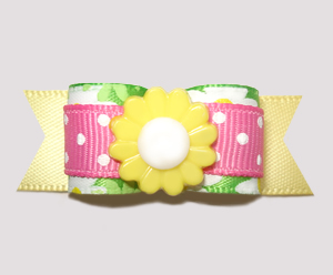 "#2484 - 5/8"" Dog Bow - Summertime Floral, Pink/Green/Yellow"