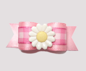 "#2486 - 5/8"" Dog Bow - Pretty Pink Gingham, Daisy Girl"