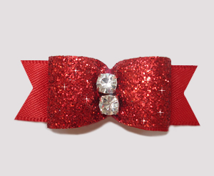 "#2489 - 5/8"" Dog Bow - Showy Red Glitter, Double Rhinestone"