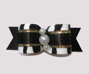 "#2491 - 5/8"" Dog Bow - Classic Zebra, Touch of Gold"