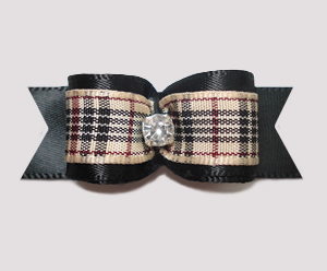 "#2492- 5/8"" Dog Bow- Designer Plaid, Classic Black, Rhinestone"