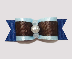 "#2495 - 5/8"" Dog Bow - Chocolate & Blueberry Mix"