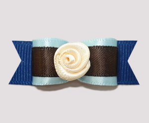 "#2496 - 5/8"" Dog Bow - Chocolate & Blueberry Mix, Touch of Cream"