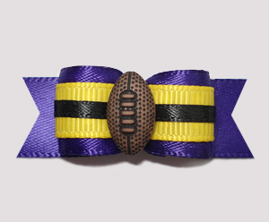 "#2497 - 5/8"" Dog Bow - Football, Deep Purple/Yellow"