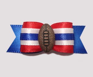 "#2498 - 5/8"" Dog Bow - Football, Red/Blue"