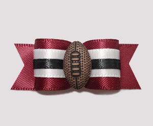 "#2499 - 5/8"" Dog Bow - Football, Maroon/White"