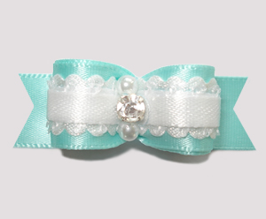 "#2504- 5/8"" Dog Bow - Gorgeous Baby, Turquoise Satin, Rhinestone"
