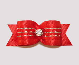 "#2509 - 5/8"" Dog Bow - Classic Red & Silver Sparkle"